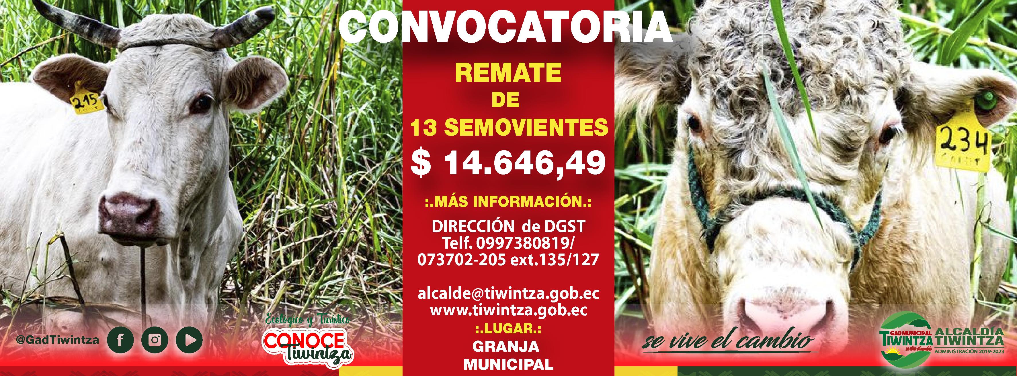 CONVOCATORIA PARA EL REMATE DE SEMOVIENTES